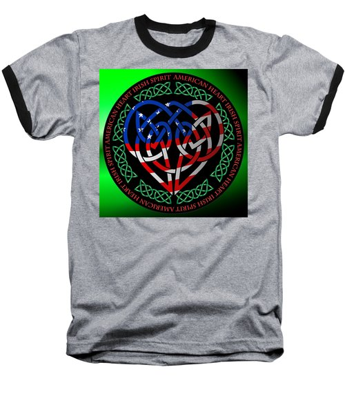 Baseball T-Shirt featuring the digital art American Celtic Heart by Ireland Calling