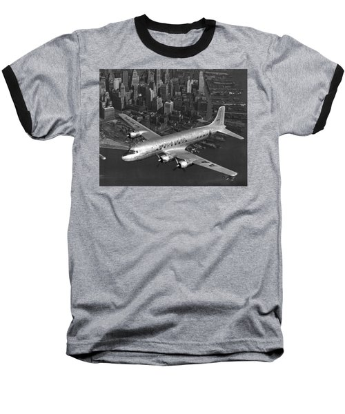 American Dc-6 Flying Over Nyc Baseball T-Shirt