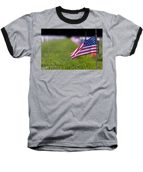 Baseball T-Shirt featuring the photograph American Flag by Jerry Gammon