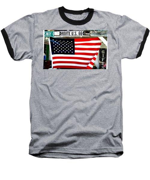 American Flag Route 66 Baseball T-Shirt