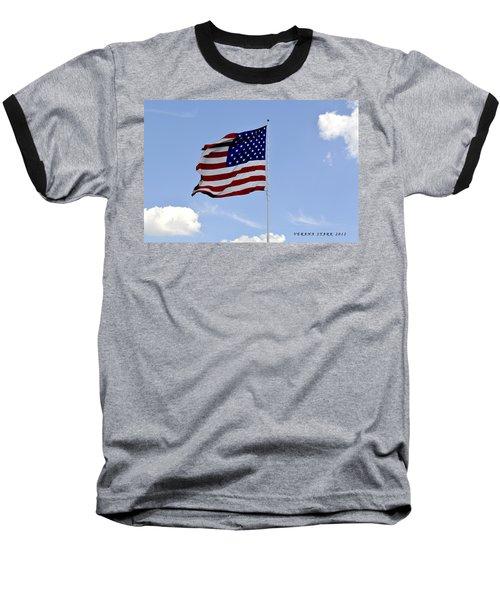 Baseball T-Shirt featuring the photograph American Flag by Verana Stark