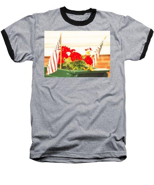 American Flags And Geraniums In A Wheelbarrow In Maine, One Baseball T-Shirt