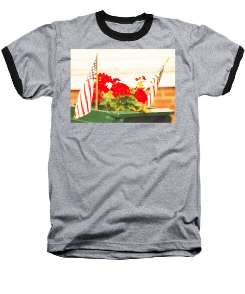 American Flags And Geraniums In A Wheelbarrow In Maine, One Baseball T-Shirt