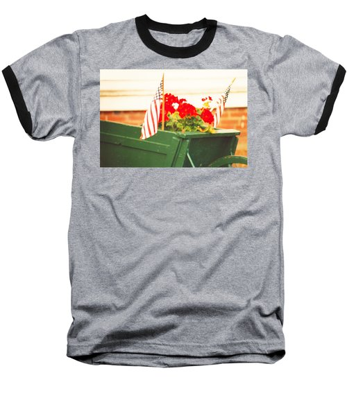 American Flags And Geraniums In A Wheelbarrow In Maine, Two Baseball T-Shirt