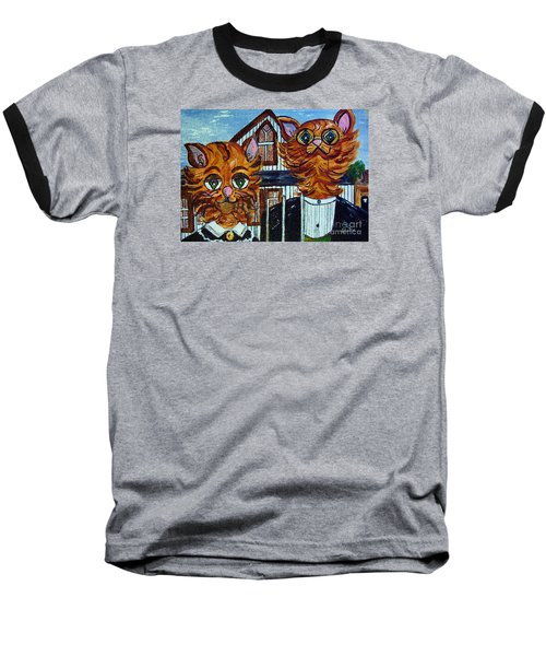 American Gothic Cats - A Parody Baseball T-Shirt by Eloise Schneider
