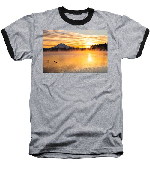 American Lake Misty Sunrise Baseball T-Shirt