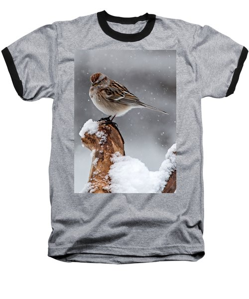 American Tree Sparrow In Snow Baseball T-Shirt