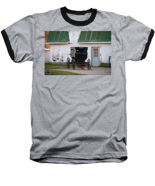 Amish Buggy White Barn Baseball T-Shirt
