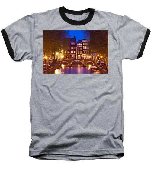 Amsterdam Bridge At Night Baseball T-Shirt