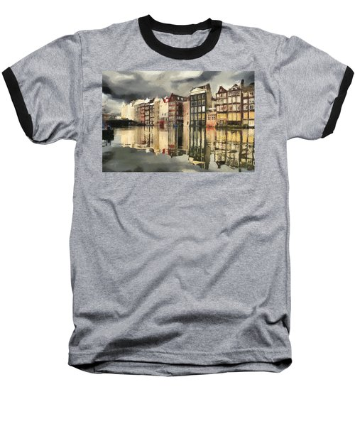 Baseball T-Shirt featuring the painting Amsterdam Cloudy Grey Day by Georgi Dimitrov
