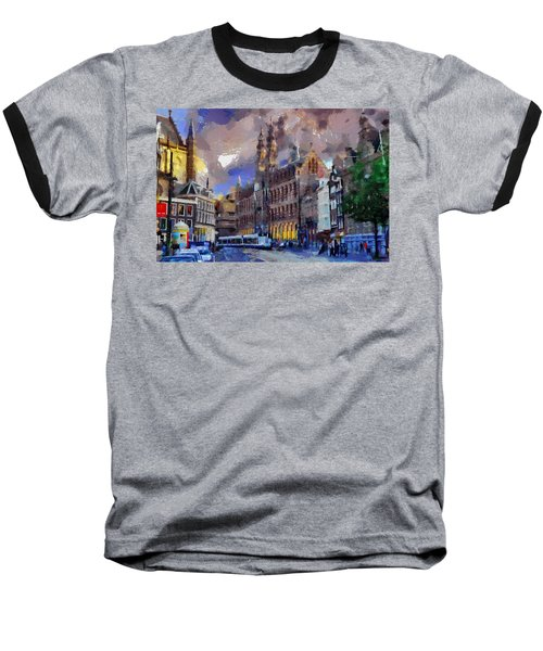 Baseball T-Shirt featuring the painting Amsterdam Daily Life by Georgi Dimitrov