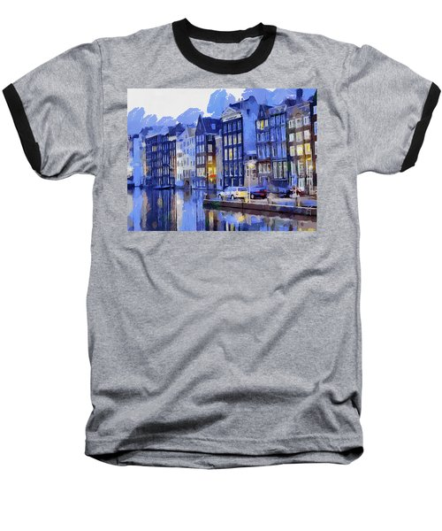 Baseball T-Shirt featuring the painting Amsterdam With Blue Colors by Georgi Dimitrov