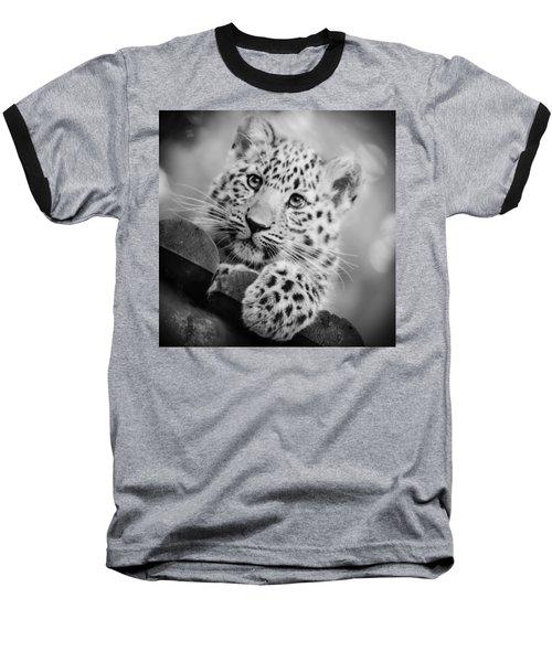 Amur Leopard Cub Portrait Baseball T-Shirt