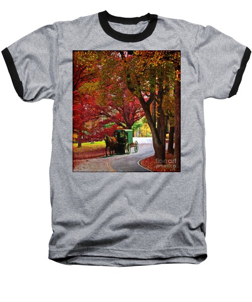 An Amish Autumn Ride Baseball T-Shirt