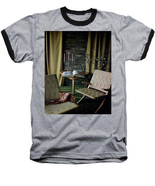An Armchair Beside A Table And An Old Book Baseball T-Shirt