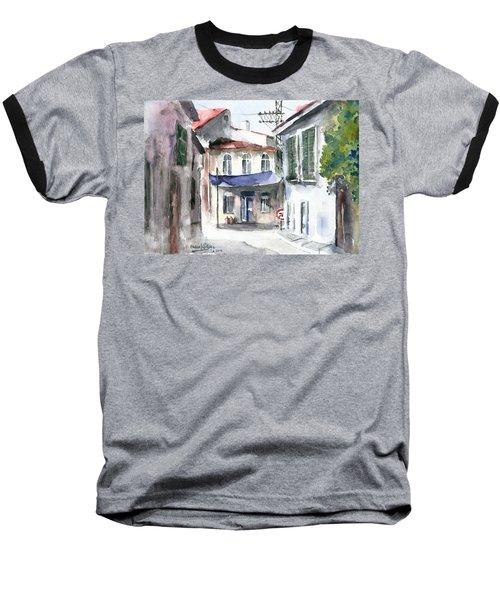 Baseball T-Shirt featuring the painting An Authentic Street In Urla - Izmir by Faruk Koksal