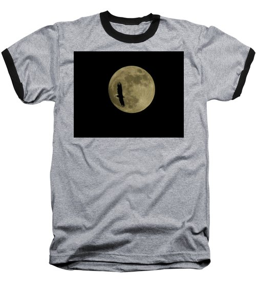 Baseball T-Shirt featuring the photograph An Eagle And The Moon by Mark Alan Perry