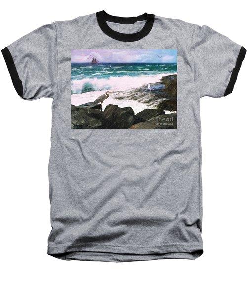Baseball T-Shirt featuring the digital art An Egret's View Seascape by Lianne Schneider