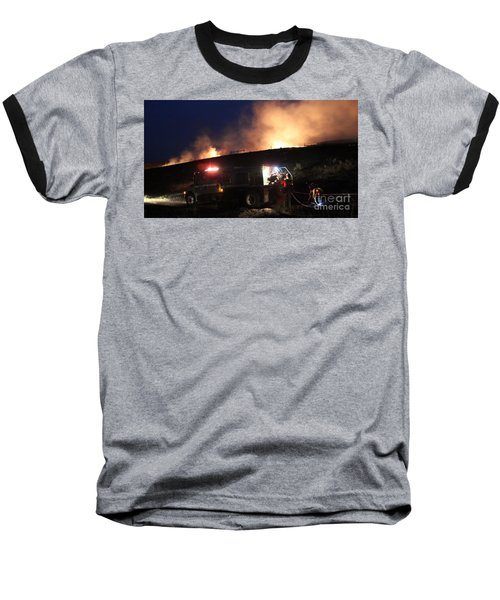 An Engine Crew Works At Night On White Draw Fire Baseball T-Shirt