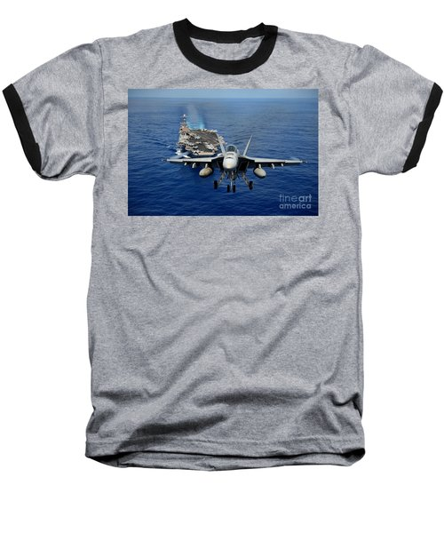 Baseball T-Shirt featuring the photograph An Fa-18 Hornet Demonstrates Air Power. by Paul Fearn