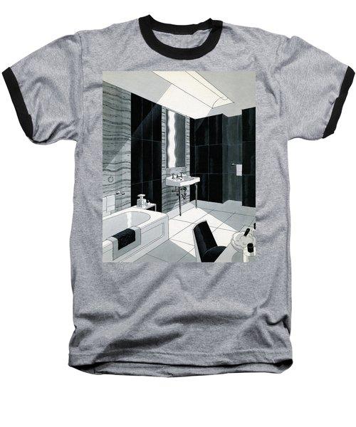An Illustration Of A Bathroom Baseball T-Shirt
