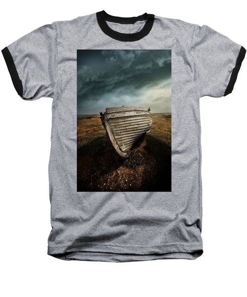 An Old Wreck On The Field. Dramatic Sky In The Background Baseball T-Shirt