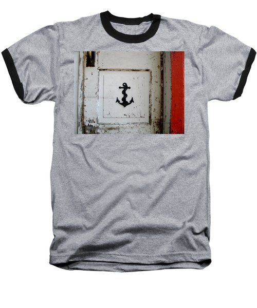 Baseball T-Shirt featuring the photograph Anchor On Old Door by Kathy Barney