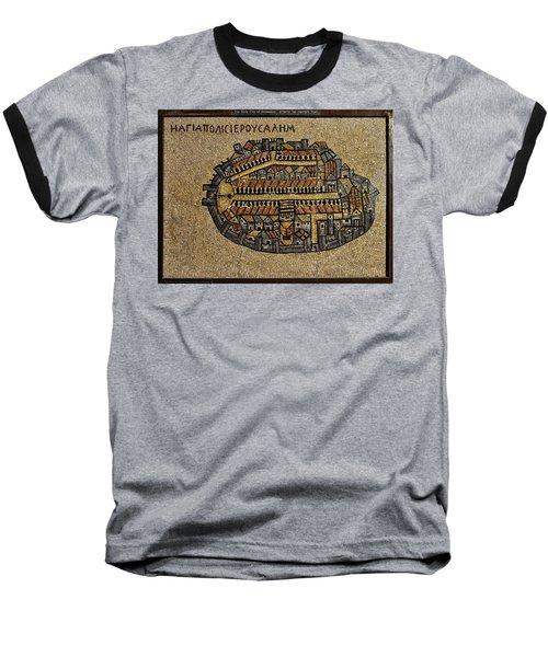 Ancient Jerusalem Mosaic Map Color Framed Baseball T-Shirt