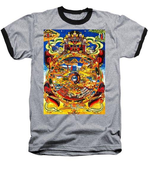 Ancient Tibetan Tangka Wheel Of Life Baseball T-Shirt