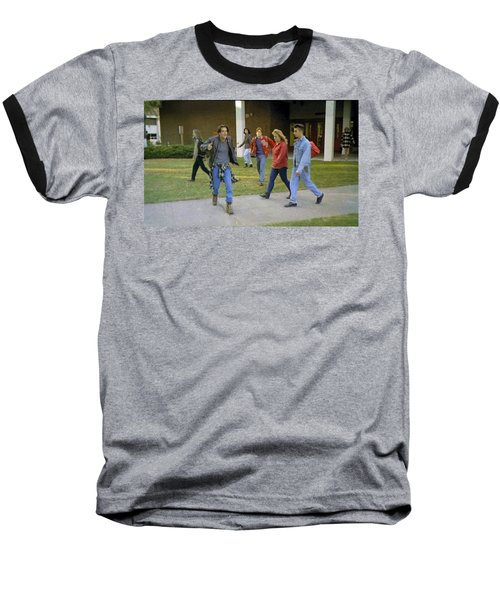 Baseball T-Shirt featuring the painting And I Looked Down At My Shoes . . . by Luis Ludzska