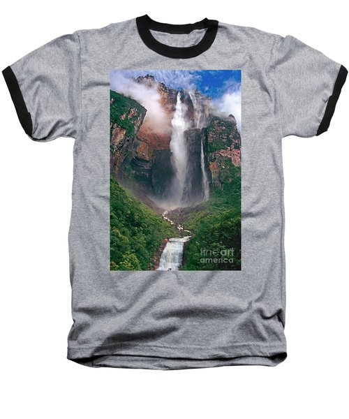 Baseball T-Shirt featuring the photograph Angel Falls In Venezuela by Dave Welling