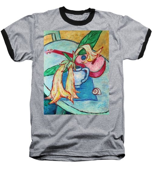 Baseball T-Shirt featuring the painting Angel's Trumpet Flowers And A Ukulele by Xueling Zou