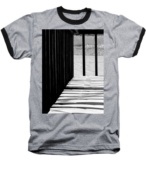 Baseball T-Shirt featuring the photograph Angles And Shadows - Black And White by Shawna Rowe