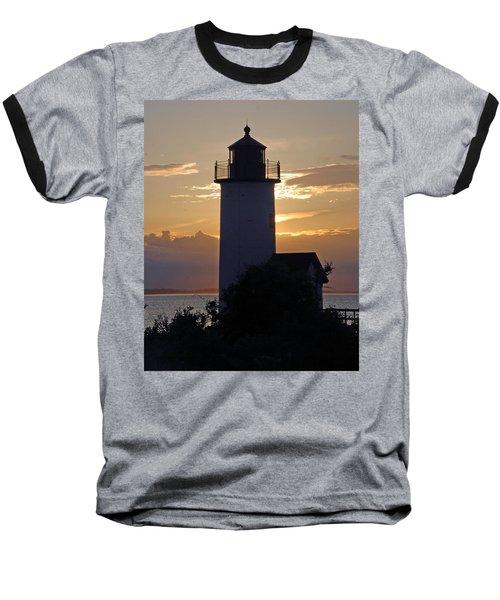 Annisquam Lighthouse Sunset Baseball T-Shirt