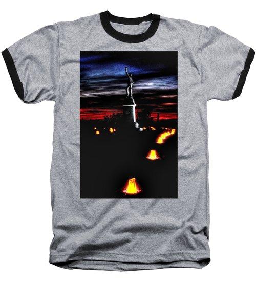 Baseball T-Shirt featuring the photograph Antietam Memorial Illumination - 3rd Pennsylvania Volunteer Infantry Sunset by Michael Mazaika