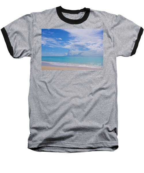 Antigua View Of Montserrat Volcano Baseball T-Shirt by Olga Hamilton