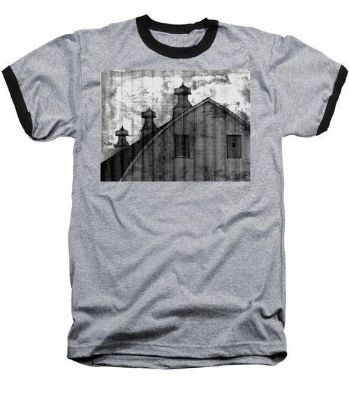 Antique Barn - Black And White Baseball T-Shirt by Joseph Skompski