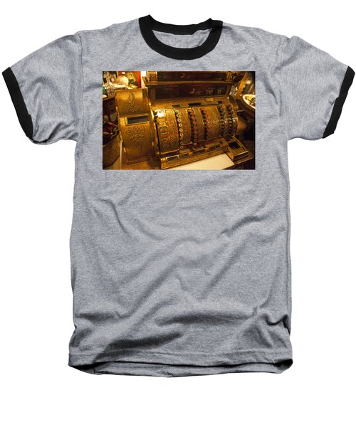 Baseball T-Shirt featuring the photograph Antique Cash Register by Jerry Cowart