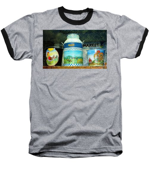 Baseball T-Shirt featuring the photograph Antique Dairy Milk Can And Pails by Judy Palkimas