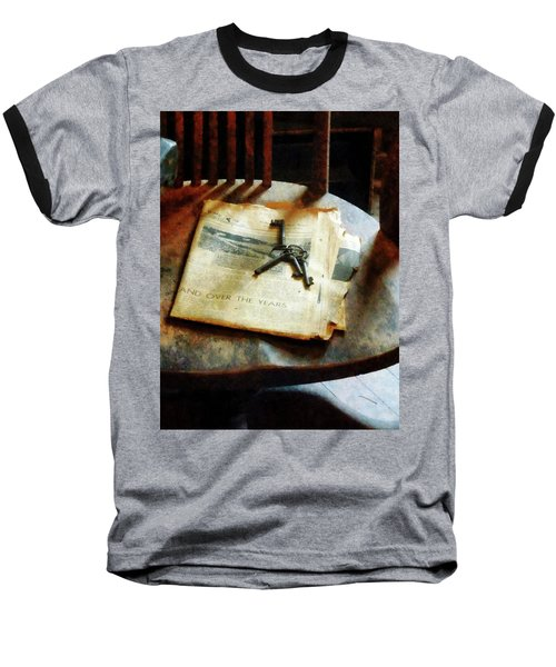 Baseball T-Shirt featuring the photograph Antique Keys On Newspaper by Susan Savad
