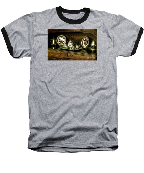 Antique Tea Set Baseball T-Shirt by The Art of Alice Terrill