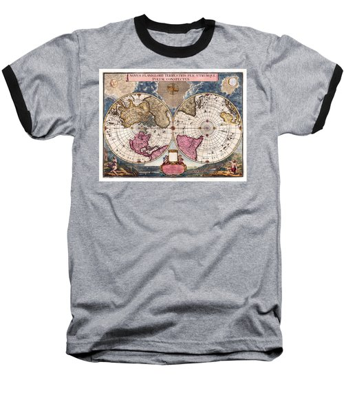 Baseball T-Shirt featuring the photograph Antique World Map 1695 Novus Planiglobii Terrestris Per Utrumque Polum Conspectus by Karon Melillo DeVega