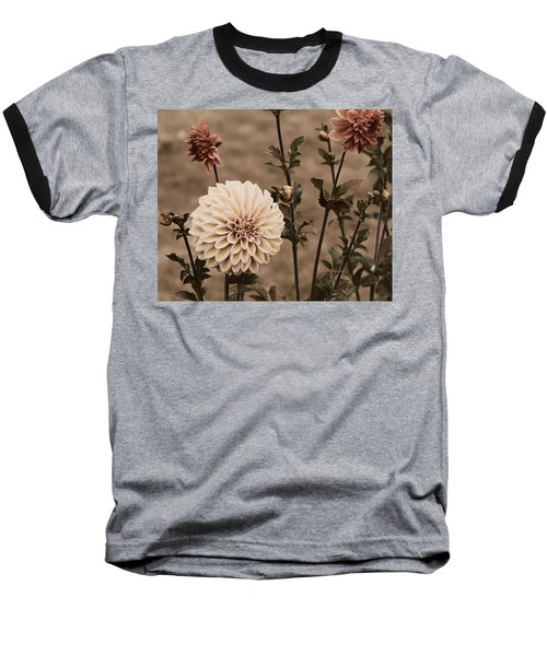 Baseball T-Shirt featuring the photograph Antiqued Dahlias by Jeanette C Landstrom