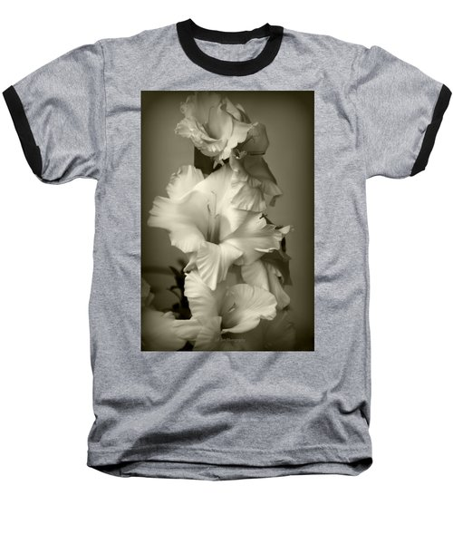 Antiqued Gladiolus Baseball T-Shirt