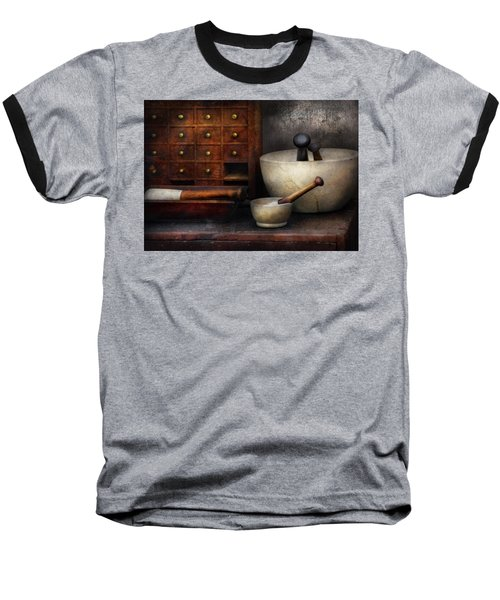 Apothecary - Pestle And Drawers Baseball T-Shirt by Mike Savad
