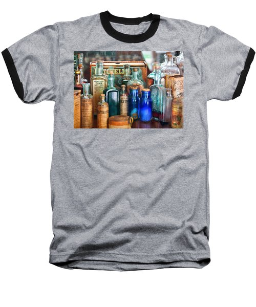 Apothecary - Remedies For The Fits Baseball T-Shirt by Mike Savad