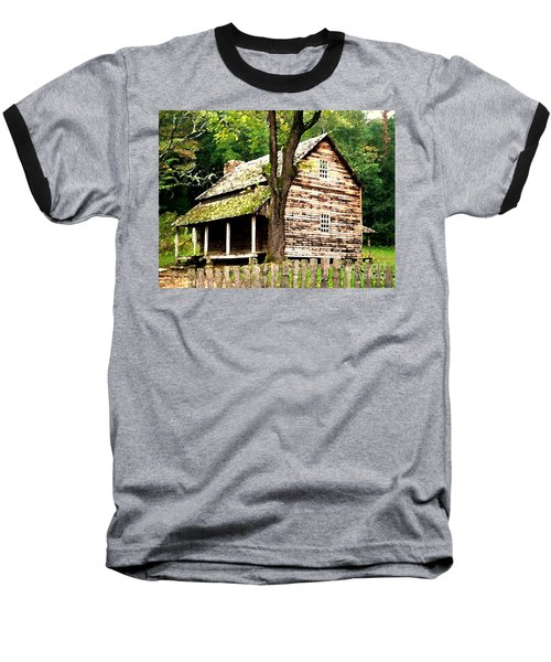 Baseball T-Shirt featuring the painting Appalachian Cabin by Desiree Paquette