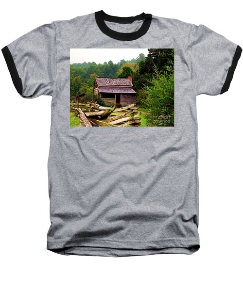 Appalachian Cabin With Fence Baseball T-Shirt