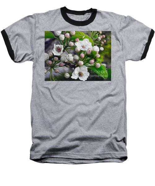 Baseball T-Shirt featuring the photograph Apple Blossoms In Oil by Nina Silver