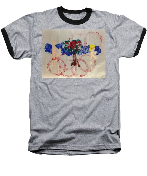 Baseball T-Shirt featuring the painting Apple Rings by Erika Chamberlin